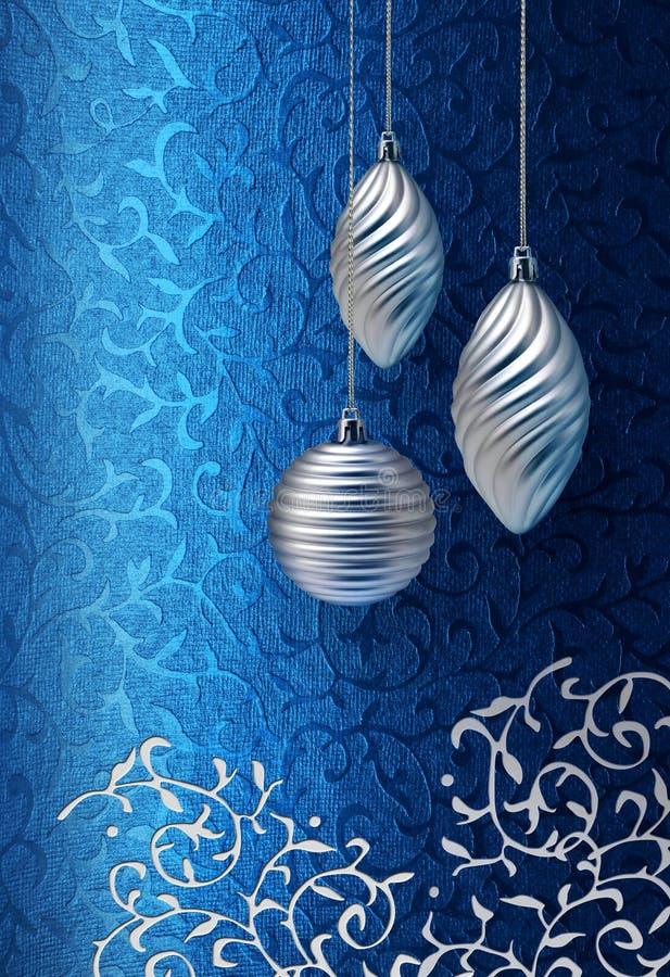 Blaue Weihnachtsbrokat-Silberdekoration lizenzfreies stockbild