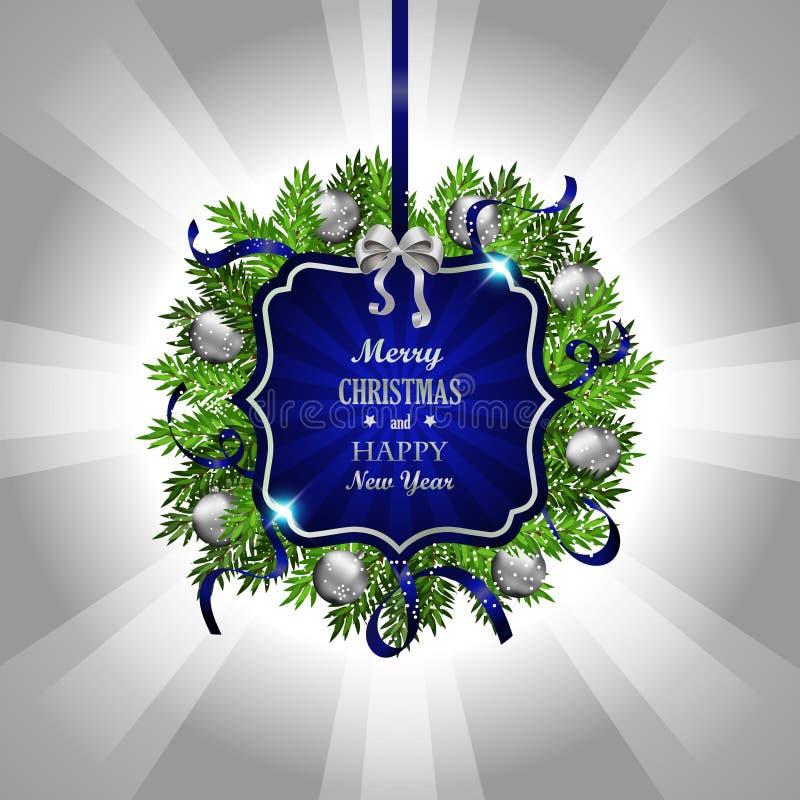 Blaue Weihnachtsdekoration stock abbildung