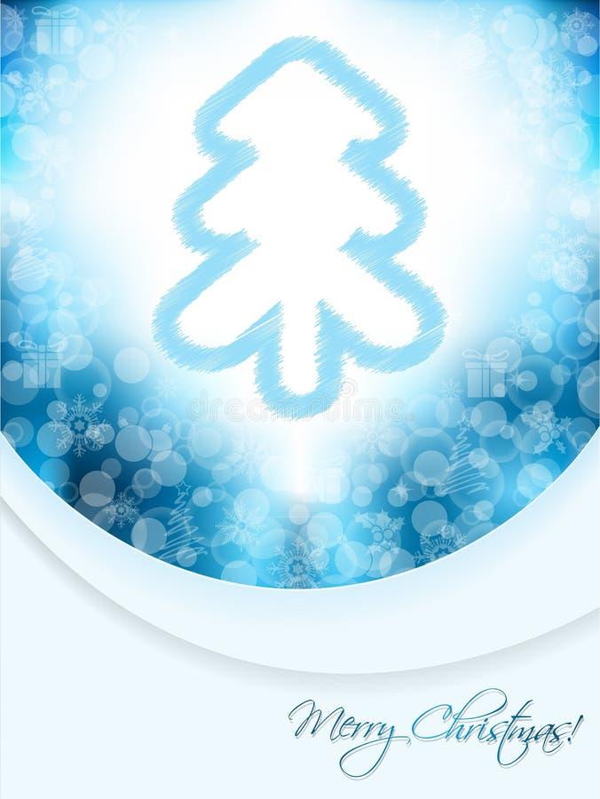 Blaue Weihnachtsgrußkarte mit gekritzelter Baum- und Blasenrückseite stock abbildung
