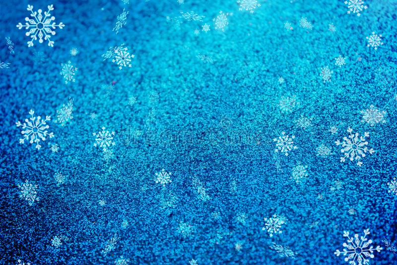 Blaue Weihnachtshintergrund-Schneebeschaffenheit, Abstraktion, Schneeflocken stock abbildung