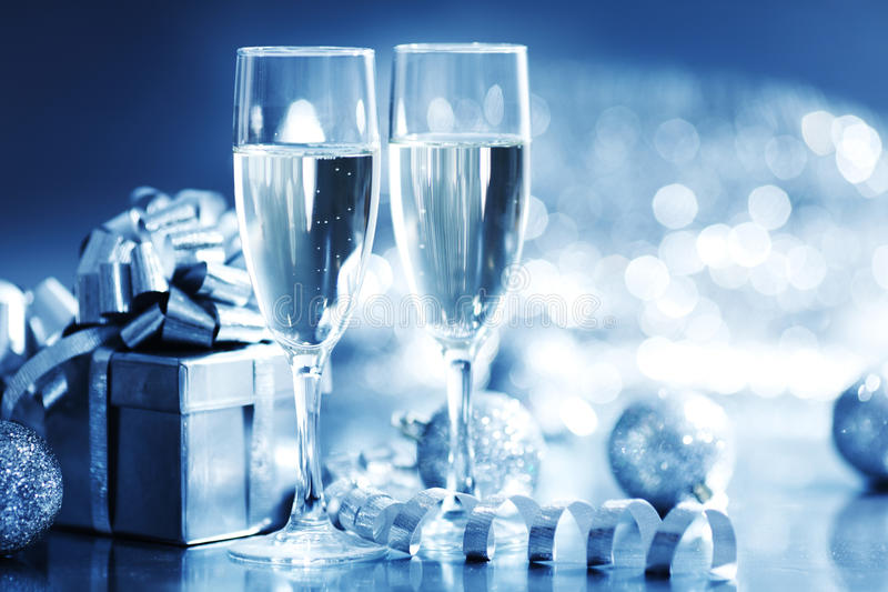 Blaue Weihnachtskarte stockfotografie