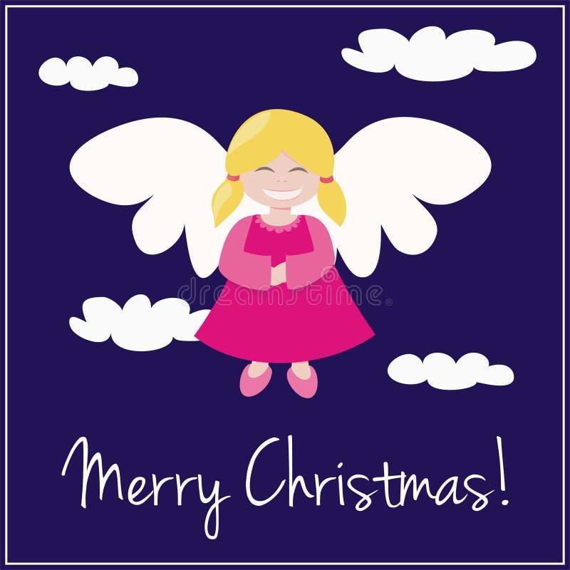 Blaue Weihnachtskarteneinladung mit Engel vektor abbildung
