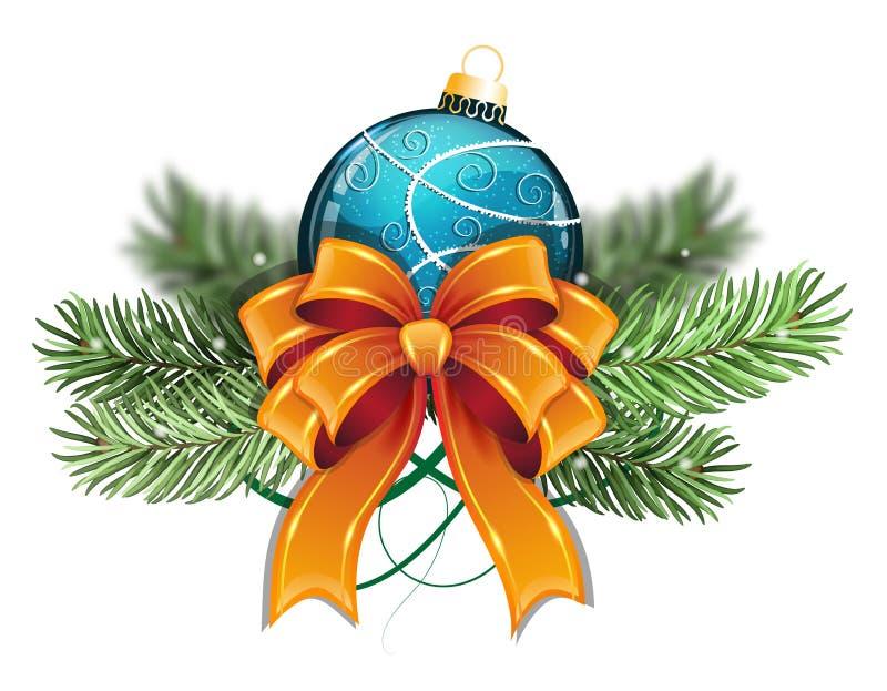 Blaue Weihnachtskugel mit Bogen lizenzfreie abbildung