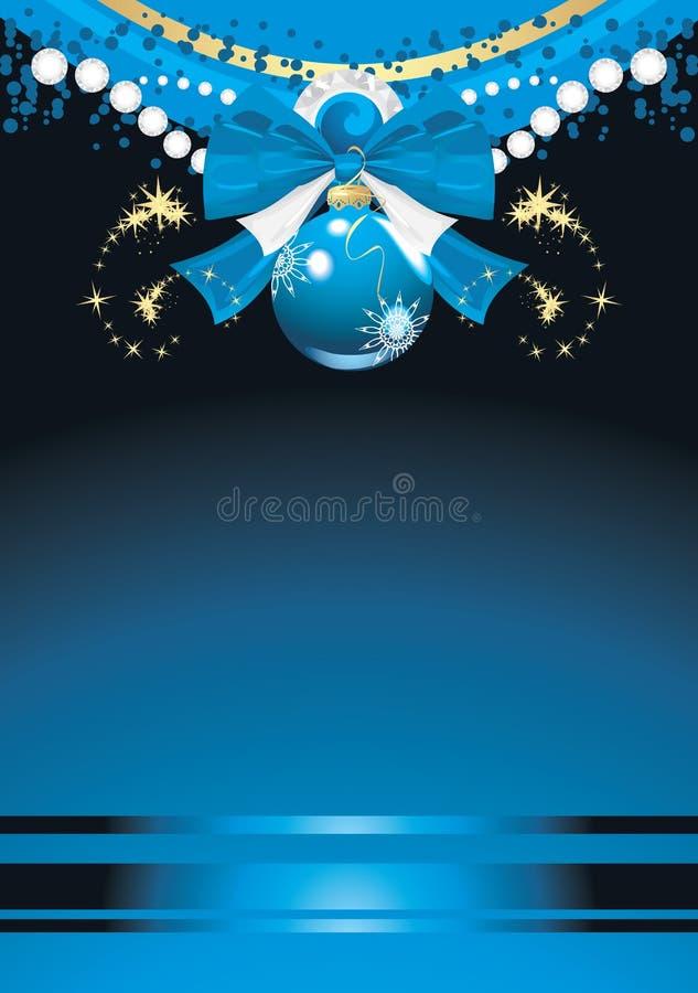 Blaue Weihnachtskugel mit Bogen und Filterstreifen stock abbildung