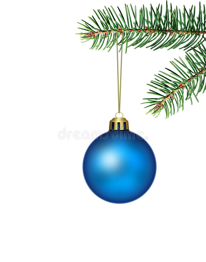 blaue weihnachtskugel mit tanne stockbild bild 22008949. Black Bedroom Furniture Sets. Home Design Ideas
