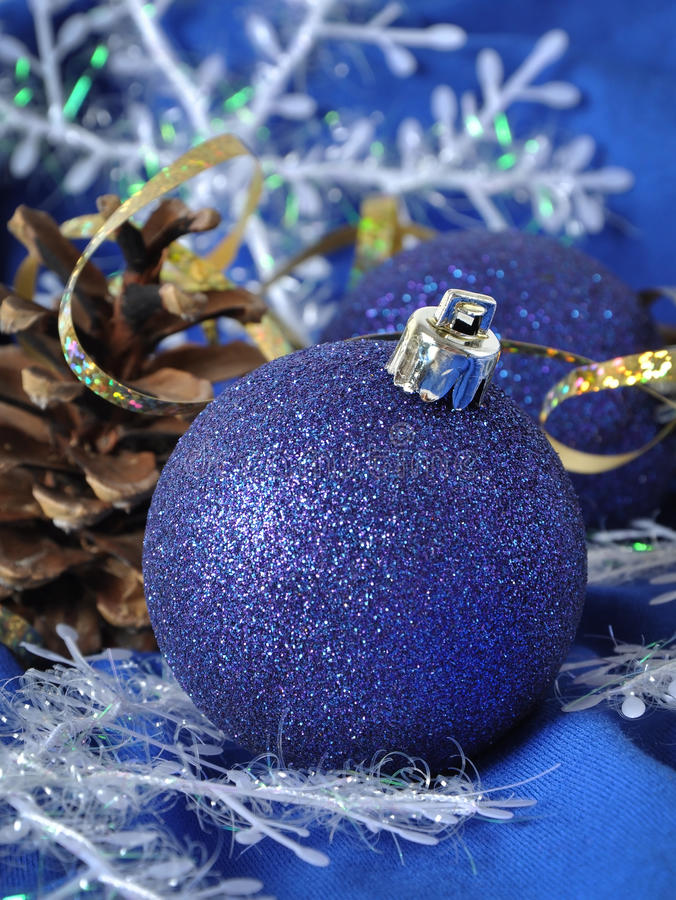 Blaue Weihnachtskugeln Lizenzfreies Stockbild