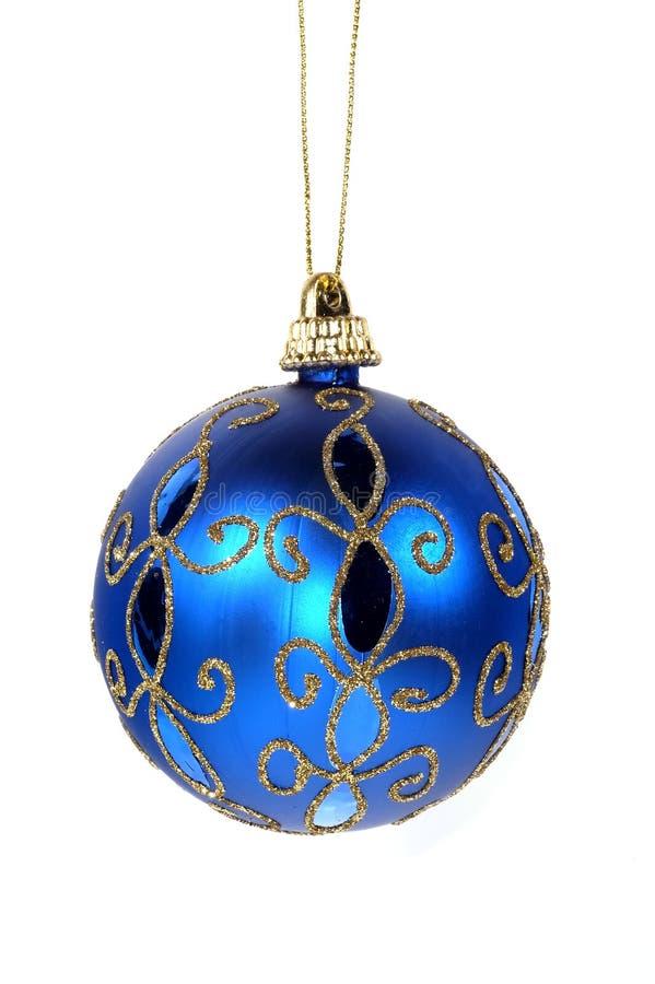 Blaue Weihnachtsverzierung stockfoto