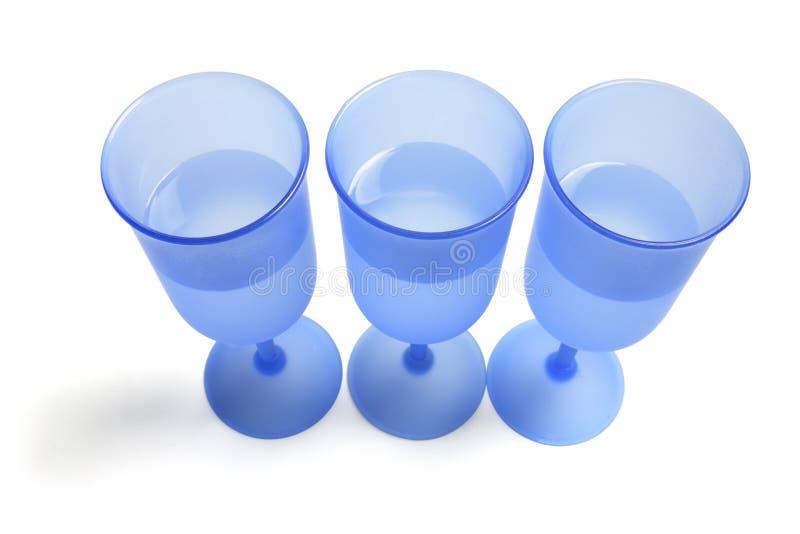 Blaue Wein-Gläser stockbild