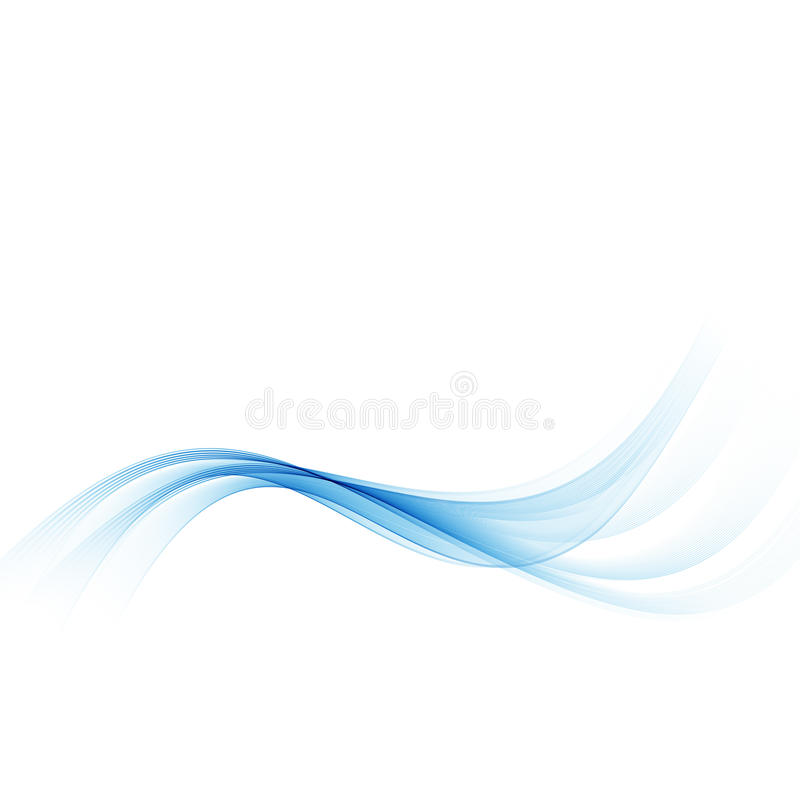 Blaue Welle Abstrakter weißer Hintergrund mit blauen gewellten gekrümmten Linien stock abbildung