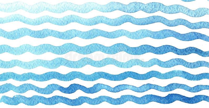 Blaue Wellen des Handgezogenen Aquarells auf weißem Hintergrund stock abbildung