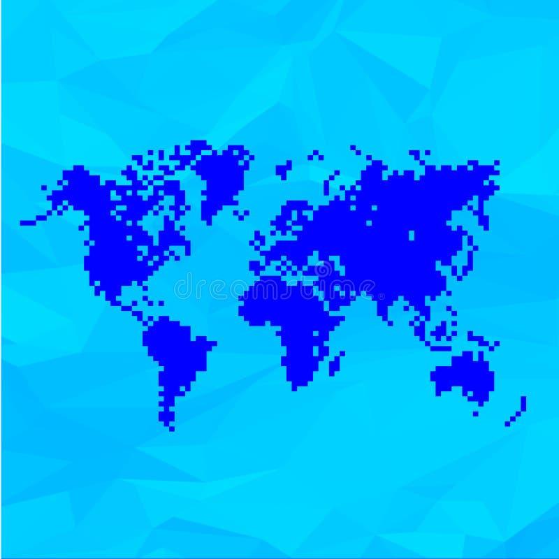 Blaue Weltkarte in den Pixeln lizenzfreie abbildung