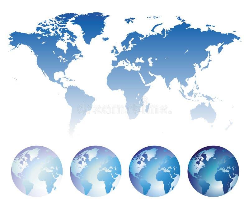 Blaue Weltkarte und -kugeln lizenzfreie abbildung