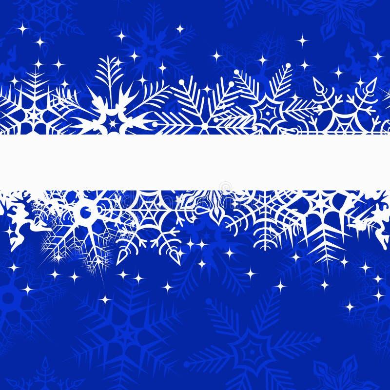 Blaue Winterfahne mit Schneeflocken stock abbildung