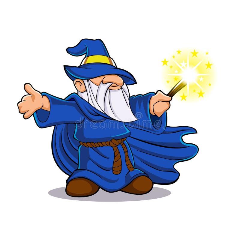 Blaue wizardKarikatur stock abbildung