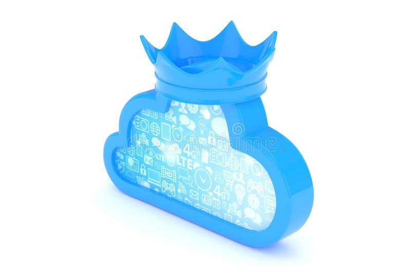 Blaue Wolkenikone Wiedergabe 3d lizenzfreie abbildung