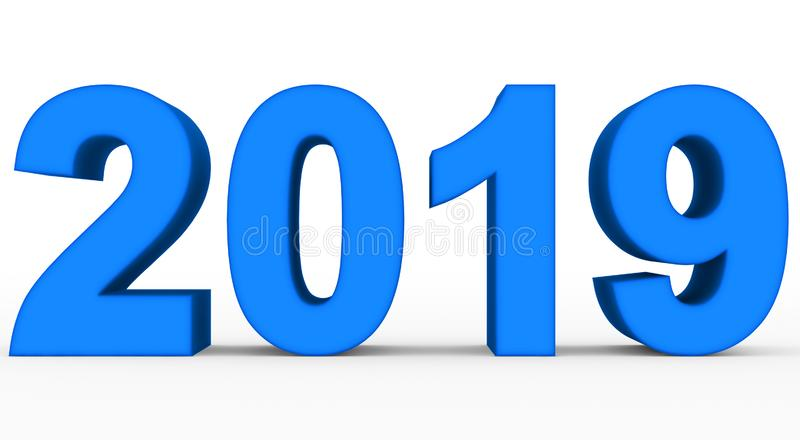 Blaue Zahlen 3d des Jahres 2019 lokalisiert auf Weiß lizenzfreie abbildung