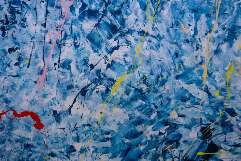 Blaue Zementwand mit den Bratenfettfarbenflecken benutzt als Hintergrund lizenzfreies stockbild