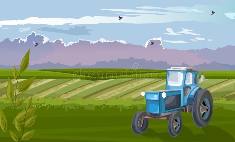 Blaue Zugmaschine im grünen Feld bei Tageslicht stock abbildung