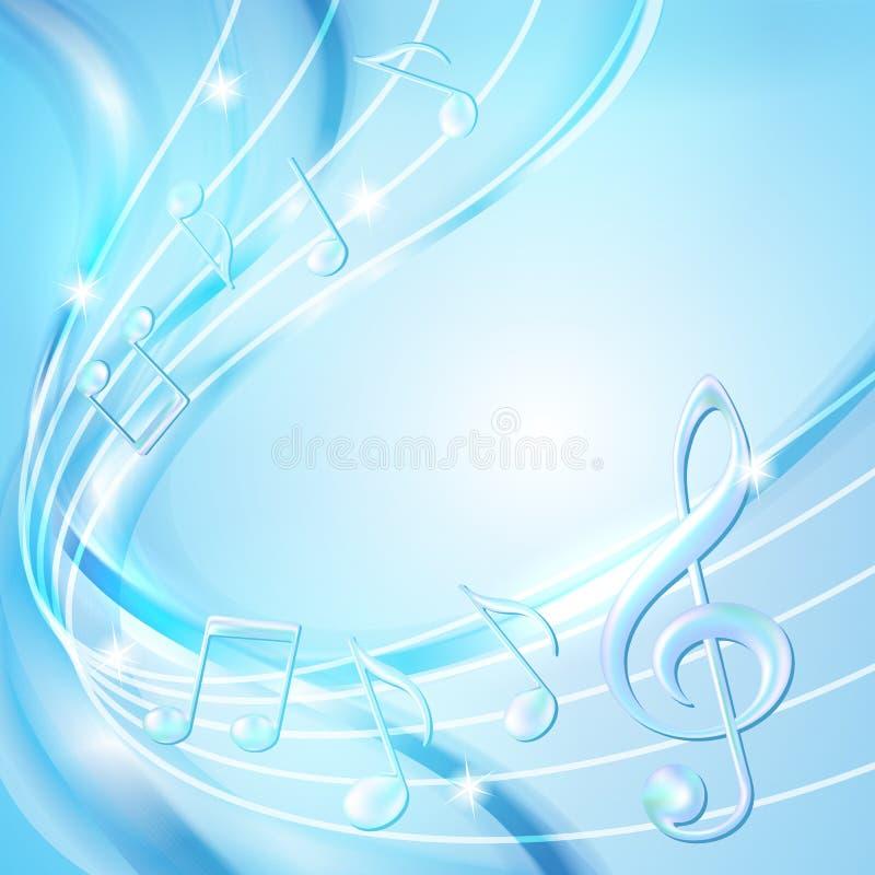 Blaue Zusammenfassung merkt Musikhintergrund. vektor abbildung