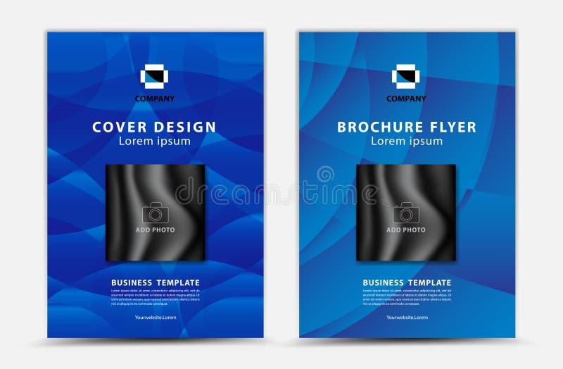 Blauer Abdeckung Schablone Vektorentwurf, Broschürenflieger, Jahresbericht, mgazine Anzeige, Anzeige, Bucheinbandplan, Plakat, Ka vektor abbildung