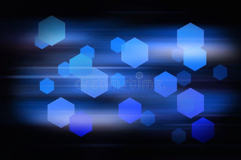 Blauer abstrakter Hexagonhintergrund mit horizontaler Geschwindigkeit zeichnet lizenzfreie abbildung