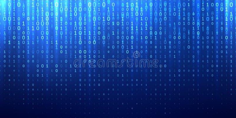 Blauer abstrakter Hintergrund des binären Matrixcodes stock abbildung