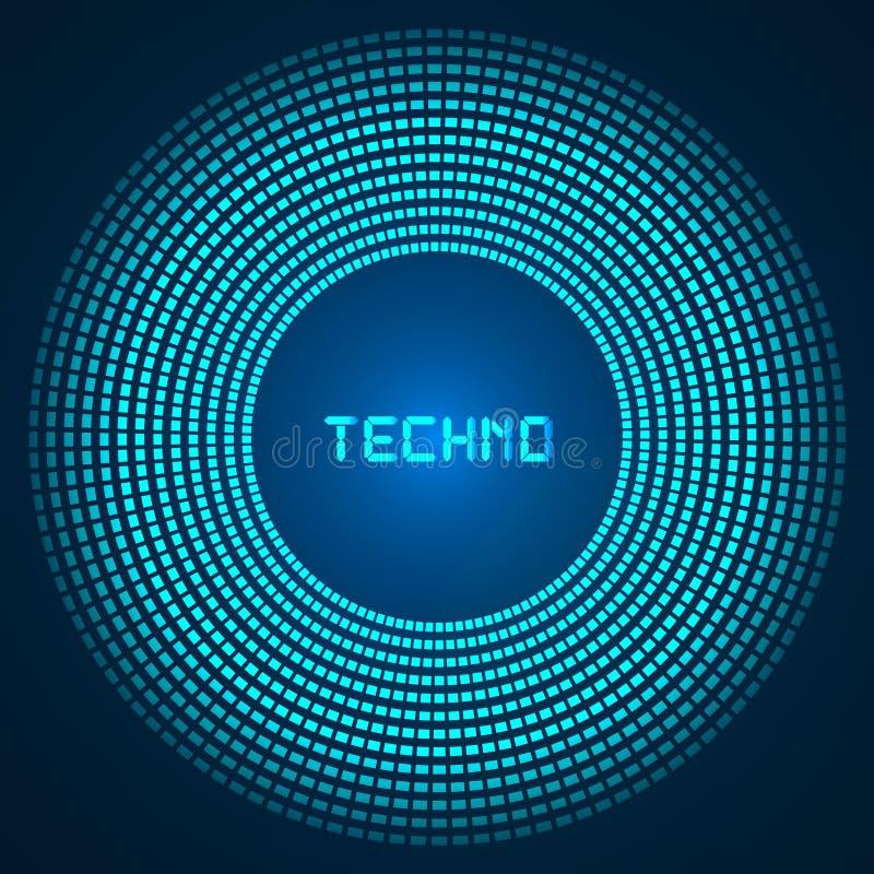Blauer abstrakter Hintergrund - Kreise von glühenden Pixeln, konzentrische Kreise lizenzfreie abbildung