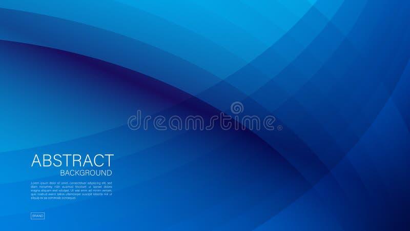 Blauer abstrakter Hintergrund, Welle, geometrischer Vektor, grafische, minimale Beschaffenheit, Abdeckungsentwurf, Fliegerschablo stock abbildung