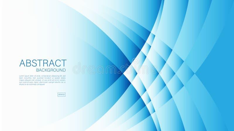 Blauer abstrakter Hintergrund, Welle, geometrischer Vektor, grafische, minimale Beschaffenheit, Abdeckungsentwurf, Fliegerschablo lizenzfreie abbildung