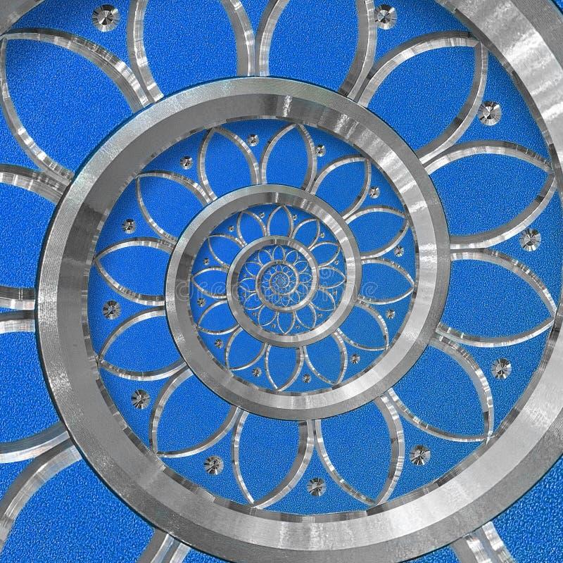 Blauer abstrakter Rundenspiralenhintergrund-Muster Fractal Blaues dekoratives Verzierungselement der silbernen Metallspirale Naht stockbilder