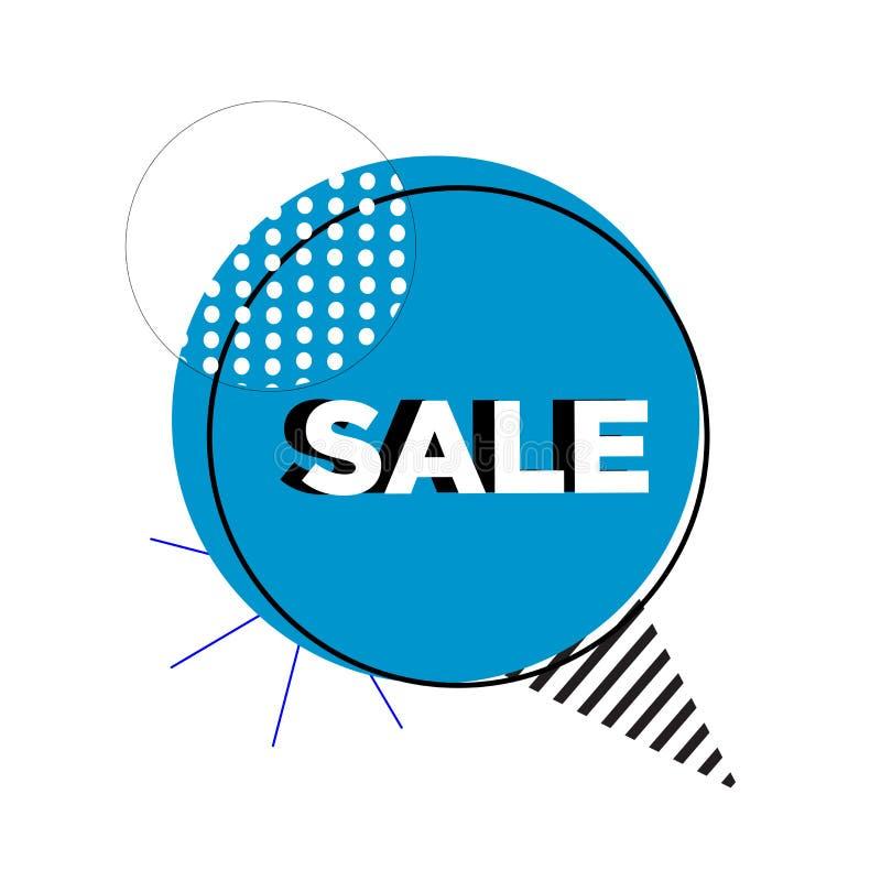 Blauer abstrakter Verkaufsfahnen-Schablonenentwurf Sonderangebot des gro?en Verkaufs Sonderangebotfahne für Plakat, Flieger, Bros stock abbildung