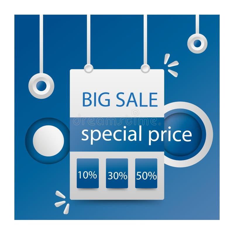 Blauer abstrakter Verkaufsfahnen-Schablonenentwurf Sonderangebot des gro?en Verkaufs Sonderangebotfahne für Plakat, Flieger, Bros lizenzfreie abbildung