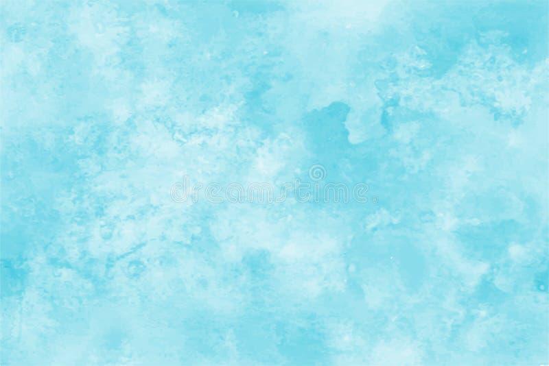 Blauer Aquarellhintergrund Abstrakter Handfarbenquadrat-Fleckhintergrund lizenzfreie abbildung