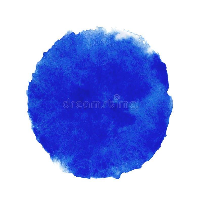 Blauer Aquarellhintergrund für Beschaffenheiten und Hintergründe, runde Stelle des Kreises vektor abbildung