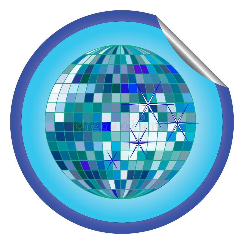 Blauer Aufkleber 2 der Discokugel stock abbildung