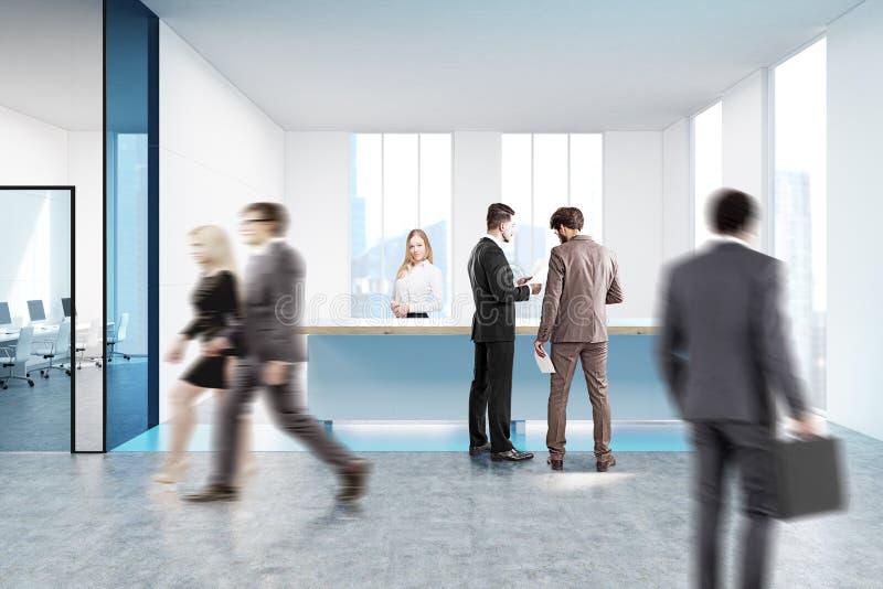 Blauer Aufnahmezähler im weißen Büro, Leute stock abbildung
