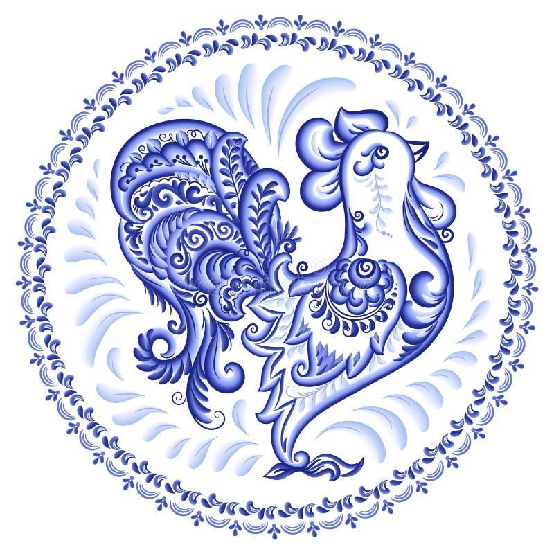Blauer aufwändiger Hahn in russischer gzhel Art mit rundem Rahmen, Vektorplattenverzierung lizenzfreie abbildung