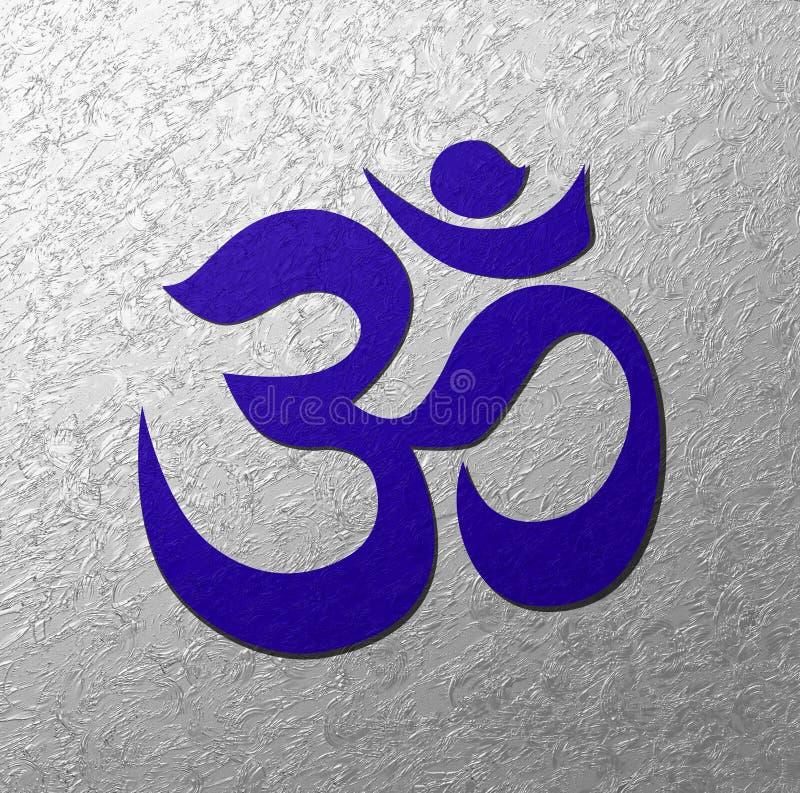 Blauer Aum-Symbol-Silberhintergrund lizenzfreie abbildung