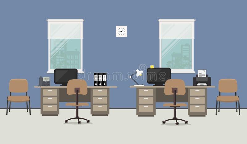 Blauer Büroraum Arbeitsplatz von Büroangestellten vektor abbildung