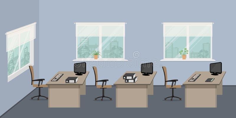 Blauer Büroraum mit beige Möbeln auf einem Fensterhintergrund lizenzfreie abbildung