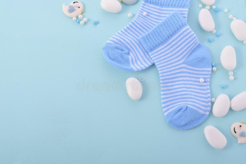 Blauer Babyparty-Kindertagesstätten-Hintergrund stockfotografie