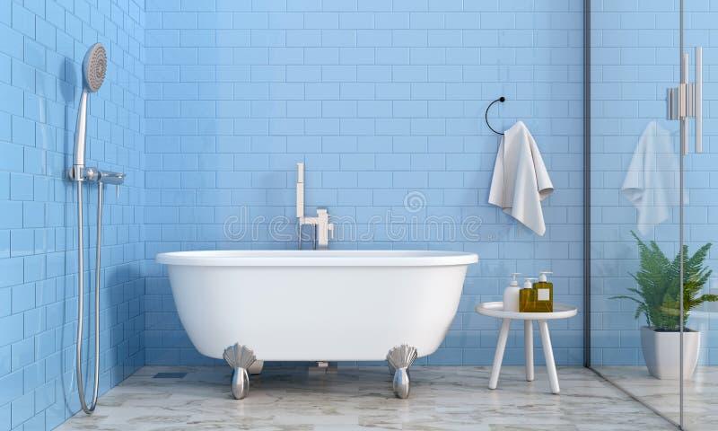 Blauer Badezimmerinnenraum, Wiedergabe 3D vektor abbildung