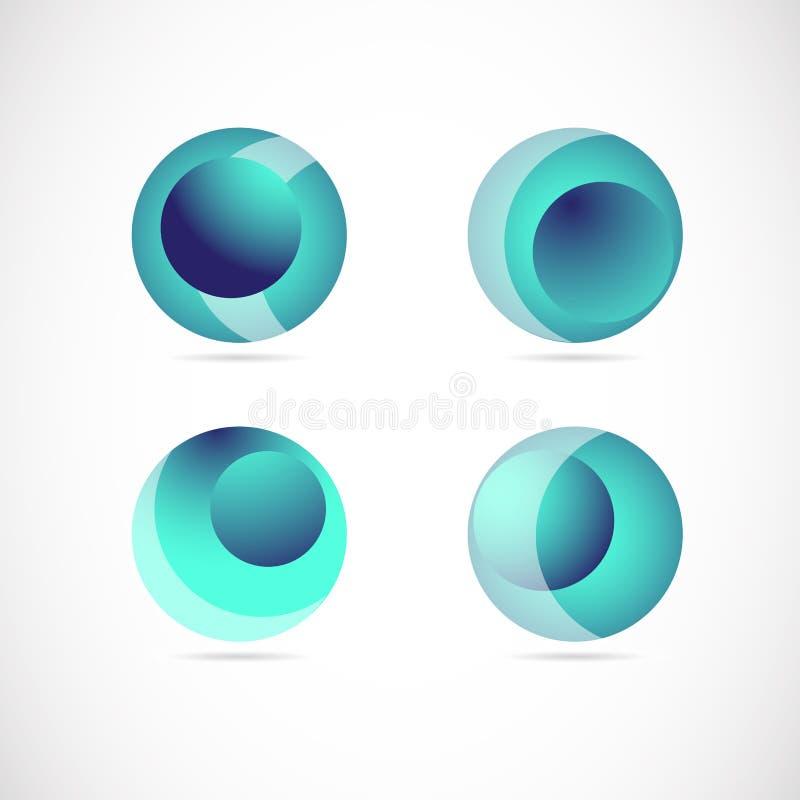 Blauer Bereichlogoikonen-Elementsatz vektor abbildung