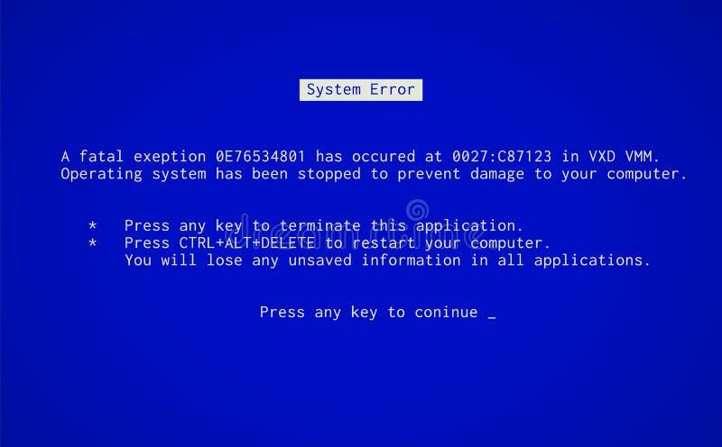 Blauer Bildschirm des Todes vektor abbildung