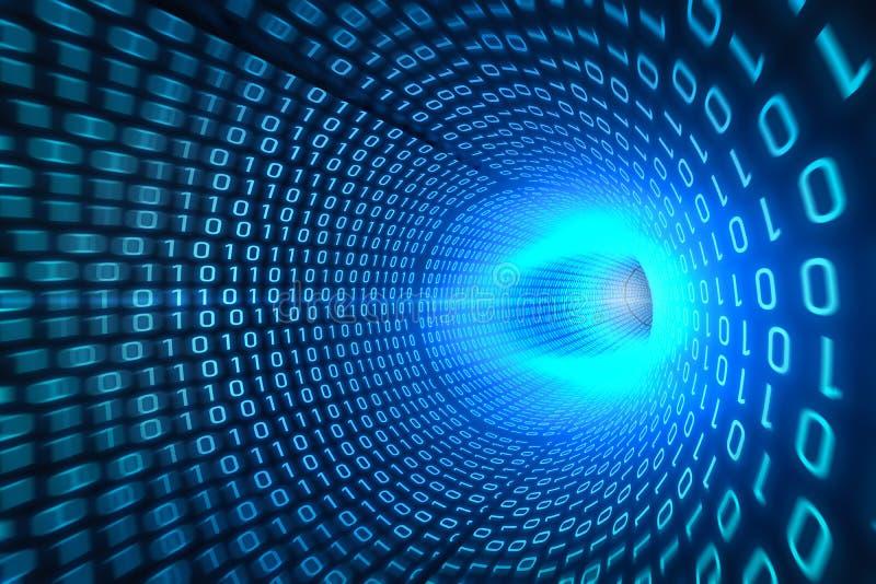 Blauer binärer Tunnelhintergrund stockfotografie