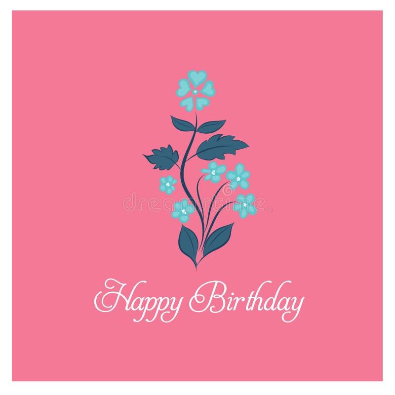 Blauer Blumenblumenstrauß auf rosa Hintergrund, glückliche Glückwunschkarte lizenzfreie abbildung