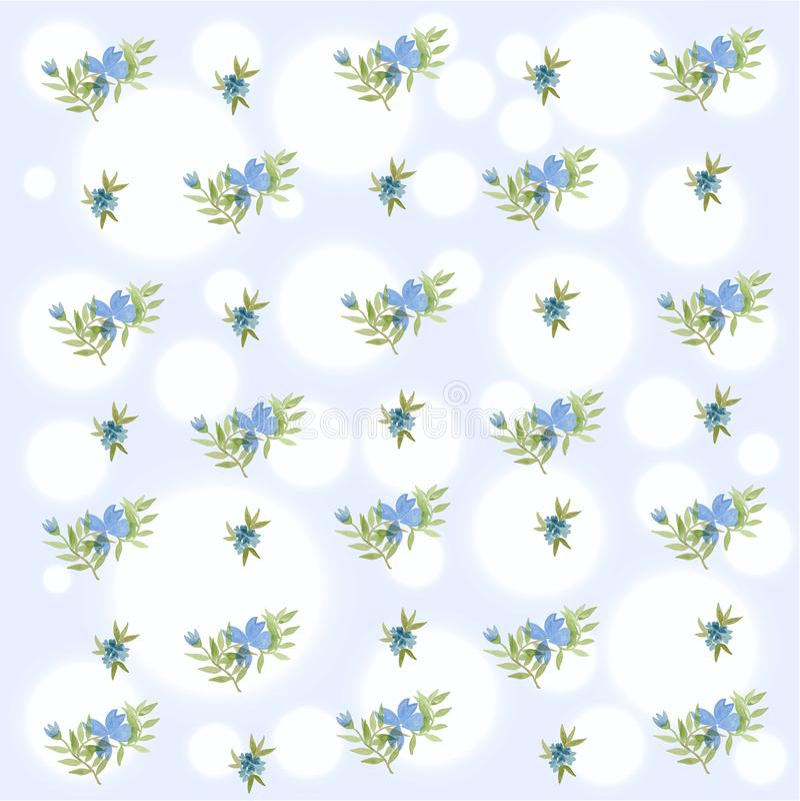 Blauer Blumenfrühlings-nahtloses Muster unter Verwendung des Aquarells lizenzfreie stockfotografie