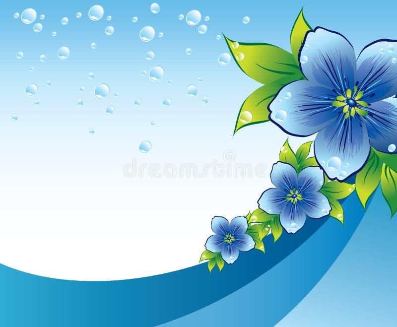 Blauer Blumenhintergrund mit Dew-drop stock abbildung