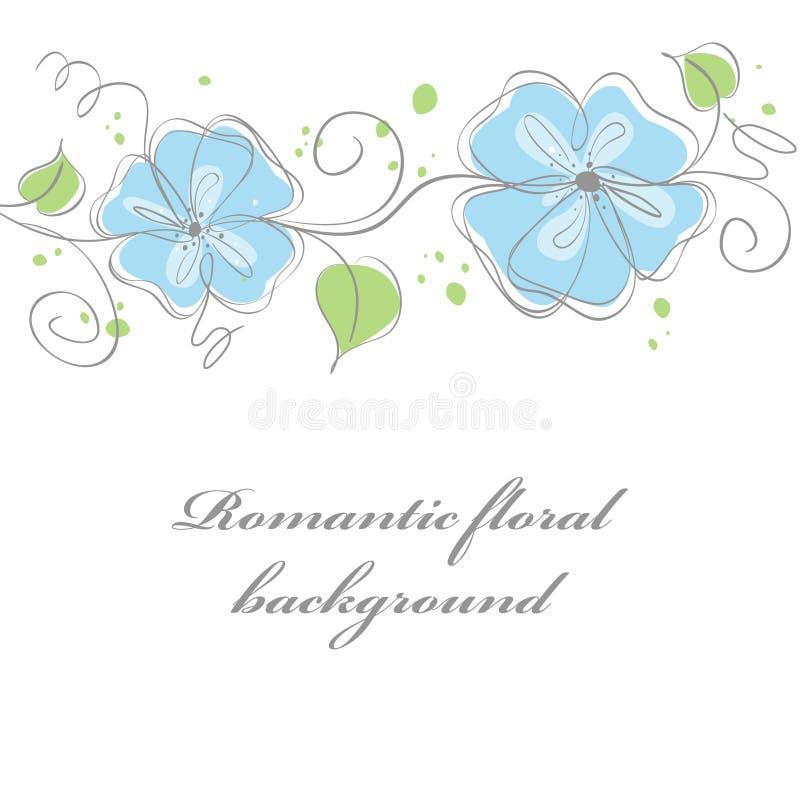 Blauer Blumenkartenhintergrund stock abbildung