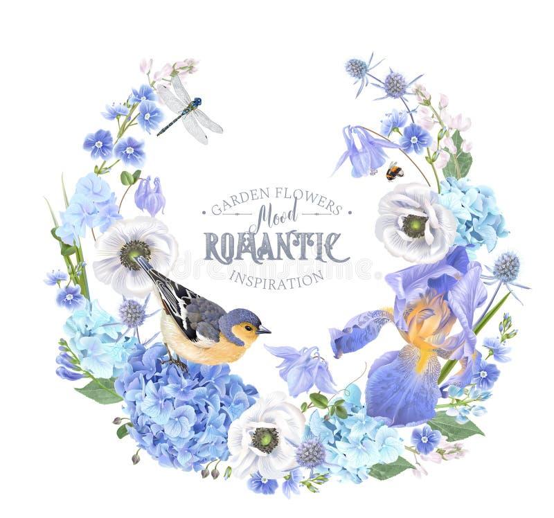 Blauer Blumenkranz lizenzfreie abbildung